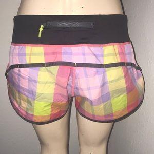 Lululemon Speed Shorts 4 EUC pink lime plaid